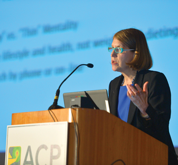 Obesity has become a prevalent problem, and treating it involves a wide array of considerations beyond counting calories, said Marijane Hynes, MD, ACP Member Photo by Kevin Berne